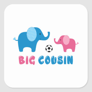 Big Cousin Elephant soccer Square Sticker