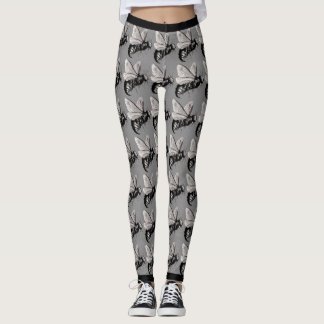 Big Creepy Black White Bees Skulls on Wings Leggings