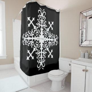 Big cross snowlake on black
