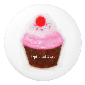 Big Cupcake & Cherry Cute Watercolor Custom Ceramic Knob