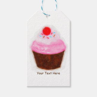Big Cupcake & Cherry Watercolor Party Favor Gift Tags
