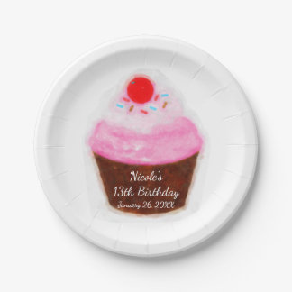 Big Cupcake & Cherry Watercolor Party Paper Plate