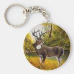 Big Daddy Deer standing in grove keychain
