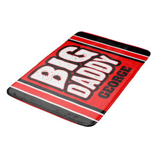 Big Daddy (Your Name) Red White Back Bath Mat