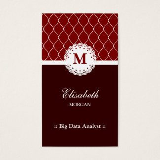 Big Data Analyst Elegant Brown Lace Pattern Business Card
