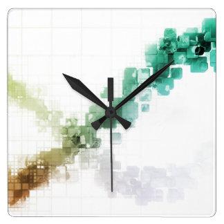 Big Data Visualization Analytics Technology Square Wall Clock