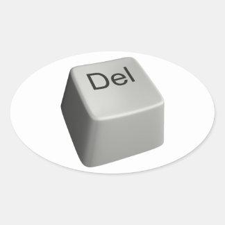 Big delete key oval sticker