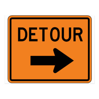 Big Detour Right Street Sign Postcard