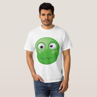Big disgusted emoji print on white t-shirt