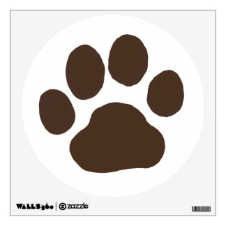 Big Dog Paw Print - Brown on White Wall Decal