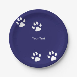 Big Dog Paw Prints on Blue 7 Inch Paper Plate
