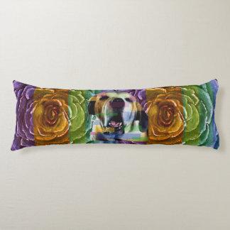 Big Dog Rainbow Rose Body Pillow
