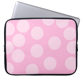 Big Dots Pattern. Pale Pink and Candy Pink. Laptop Computer Sleeve
