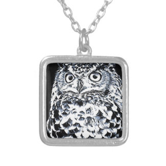 Big Ear Owl Art Silver Plated Necklace