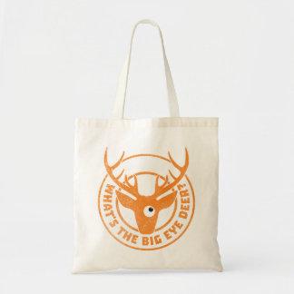 Big Eye Deer Worn Orange Tote Bags