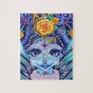 Big Eye girl with roses and Pearls Jigsaw Puzzle