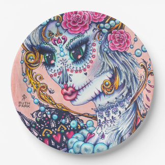 Big Eye girl with roses and Pearls plates
