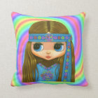 Big Eye Hippie Doll Girl in Blue Headband Throw Pillow