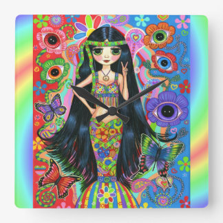 Big Eye Hippie Mermaid Girl Peace Sign 1960s '70s Square Wall Clock