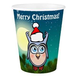 Big-Eyed Baby Owl With Christmas Hat Paper Cup