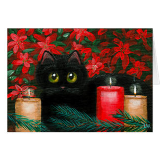 Big Eyed Christmas Cat Poinsettias Creationarts Card