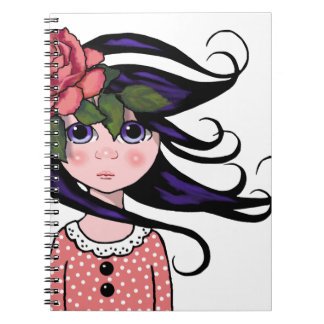 Big-Eyed Girl, Curly Hair, ROSE, Surreal Art Note Book