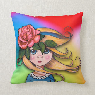 Big-Eyed Girl, Curly Hair, Windy Day, Surreal Art Throw Pillow