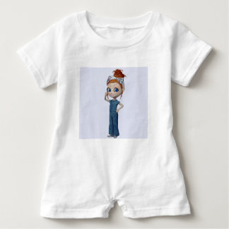 Big eyes doll Blue Baby Romper