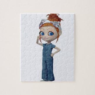 Big eyes doll Blue Jigsaw Puzzle