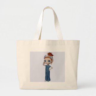 Big eyes doll Blue Large Tote Bag