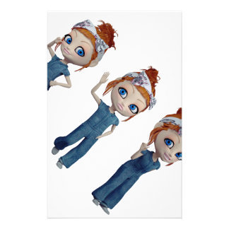 Big eyes doll Blue Personalized Stationery