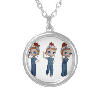Big eyes doll Blue Silver Plated Necklace