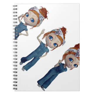 Big eyes doll Blue Spiral Notebook