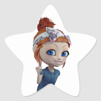Big eyes doll Blue Star Sticker