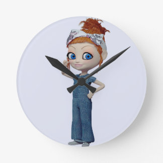 Big eyes doll Blue Wall Clocks