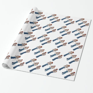 Big eyes doll Blue Wrapping Paper