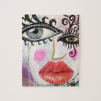 Big Eyes Lips Quirky Collage Art Artistic Fun Face Jigsaw Puzzle