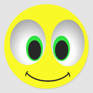 BIG EYES SMILEY FACE CLASSIC ROUND STICKER