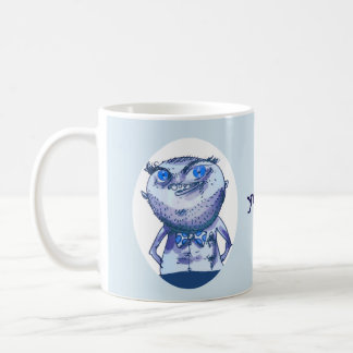 big eyes weird man funny cartoon coffee mug