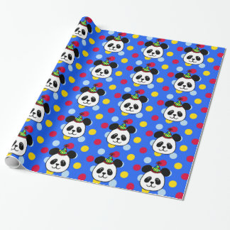 Big Face Panda Birthday Wrapping Paper Blue