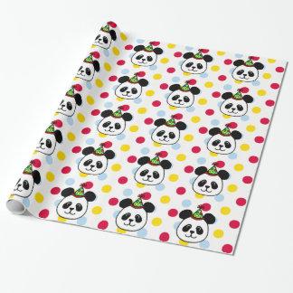 Big Face Panda Cartoon Birthday Wrapping Paper