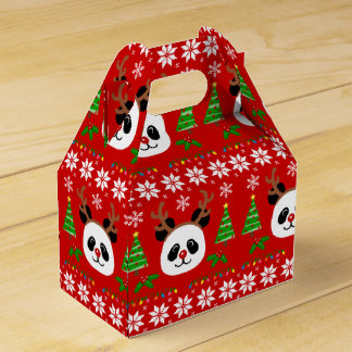 Big Face Panda Cartoon Christmas Antlers Favor Box