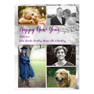 Big Family Happy New Year Postcard Photo Greeting