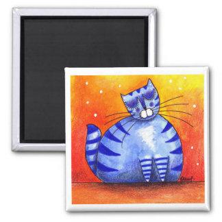 Big Fat Blue Cat - Square Magnet