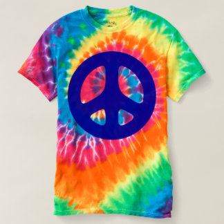 Big Fat Blue Peace Symbol Tie-Dye Tshirt