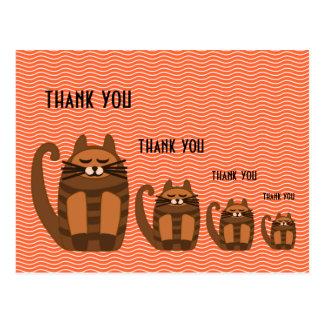 big fat cat rufus thank you postcard