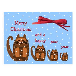 big fat cat rufus xmas snow postcard