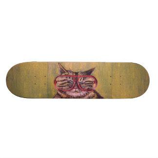 Big Fat Glasses Cat Skateboard