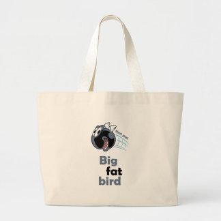 Big fat shot put bird large tote bag