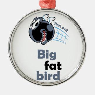 Big fat shot put bird Silver-Colored round ornament